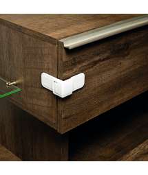CORNER OF DRAWER LOCK